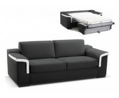 Canapé 3 places convertible express cuir supérieur HIPPIAS II - Bicolore noir et blanc