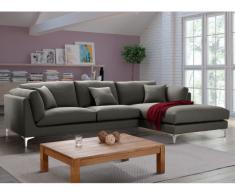 Canapé d'angle FLAKE en tissu - Angle droit - Gris