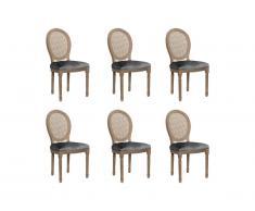 Lot de 6 chaises MARIE-ANTOINETTE en cannage - Velours & Bois d'Hévéa - Gris