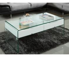 Table basse ABBY - 2 tiroirs - MDF laqué & verre trempé - Coloris blanc