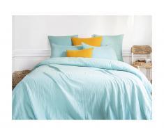 Parure de lit en gaze de coton 1 personne LEGERO - housse de couette 140 x 200 + 1 taie d'oreiller 63 x 63 cm - bleu