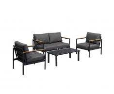 Salon de jardin VAIRAO en aluminium : un canapé 2 places, deux fauteuils et une table basse