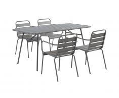 Salle à manger de jardin MIRMANDE en métal: une table L.160 cm et 4 chaises empilables - Gris