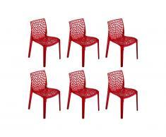 Lot de 6 chaises empilables DIADEME - Polycarbonate plein - Rouge