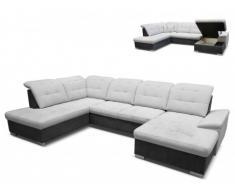 Canapé d'angle panoramique en tissu KAURIE - Gris clair et Anthracite - Angle droit