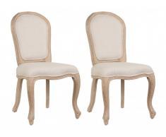 Lot de 2 chaises LOUIS-PHILIPPE - Tissu & Bois d'Hévéa - Beige