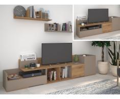 Meuble TV extensible DARBY - 3 portes - Noyer & Gris