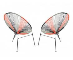 Lot de 2 chaises de jardin ALIOS II en fils de résine tressés - Noir, orange, gris