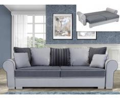 Canapé 4 places convertible en tissu MORIAN - Anthracite et gris clair