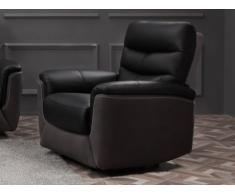 Fauteuil relax électrique en cuir et tissu GALWAY - Noir et anthracite