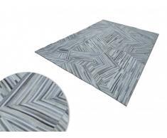 Tapis poils ras MATIAS - 100% cuir - 160 x 230 cm - Gris