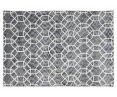 Tapis géométrique AURON - polyester - 120 x 170 cm - gris et blanc