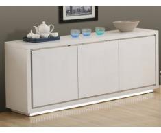 SOLDES - Buffet SHEENIA - MDF laqué blanc - LEDs - 3 portes