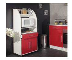 Buffet de cuisine COLEEN - Blanc et rouge - 2 portes, 1 tiroir