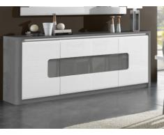 Buffet PERCEPTION - LEDs - 4 portes - Gris & Blanc