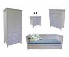 Pack CHAMBRE enfant Collection SANDRINE : Lit en 90x190cm, chevet, commode, armoire