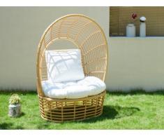Fauteuil de jardin avec auvent CALODYNE en résine tressée beige et coussin blanc