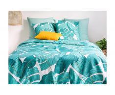 Parure de lit en percale de coton GRANY - housse de couette 240 x 260 cm + 2 taies d'oreiller 63 x 63 cm - vert et blanc