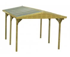Carport double pente GAYA en bois traité classe III - surface 15,52m² - épaisseur 19mm - toit en feutre bitumé