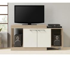 Meuble TV extensible THIAGO - 2 portes & 2 niches - Chêne