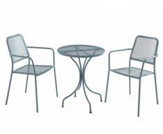 Salle à manger de jardin NAJAC en métal - une table D.60cm et 2 fauteuils empilables - Anthracite
