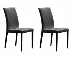 Lot de 2 chaises ATALANTE - Cuir de vachette - Noir