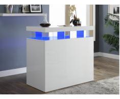 Meuble de bar FABIO - MDF laqué blanc - LEDs