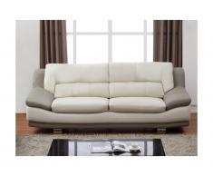Canapé 3 places en cuir THOMAS - Bicolore ivoire et gris