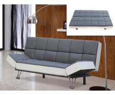 Canapé clic-clac en simili ESPOO bicolore gris/blanc