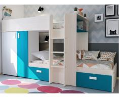 Lits superposés JULIEN - 2x90x190cm - Armoire intégrée - Pin blanc et bleu