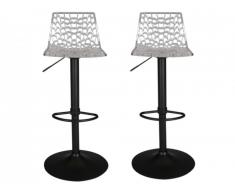 Lot de 2 Tabourets de bar CLARK - Polycarbonate - Transparent - Base Noire