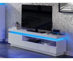 Meuble TV EMERSON - 1 porte & 2 tiroirs - MDF laqué blanc - LEDs