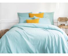 Parure de lit en gaze de coton LEGERO - housse de couette 240 x 260 + 2 taies d'oreiller 63 x 63 cm - bleu