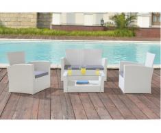Salon de jardin AREQUIPA en resine tressée blanche et verre trempé : un canapé 2 places, 2 fauteuils et une table basse - assise grise