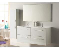 Ensemble IVANKA - meubles de salle de bain avec double vasque et miroir - Laqué blanc