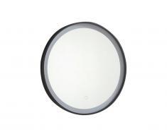 Miroir de salle de bain lumineux rond à Leds NUMEA noir - L60 x H60