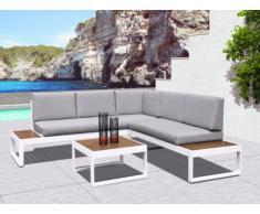 SOLDES - Salon de jardin PADANG - Table basse et canapé d'angle 5 places - Gris