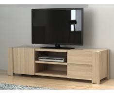 Meuble TV MARTIAL - 1 porte & 2 tiroirs - MDF - Coloris : Chêne