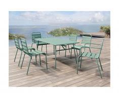 Salle à manger de jardin MIRMANDE en métal: une table L.160 cm avec 2 fauteuils empilables et 4 chaises empilables - Vert amande