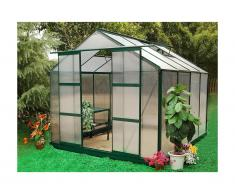 Serre de Jardin en polycarbonate de 7.5 m² GREENEA II avec embase