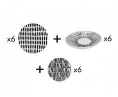 Service vaisselle 18 pièce ZEBRA - Faïence - Noir et blanc