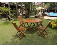 Salle à manger de jardin AKUDA - Teck: 1 table et 4 chaises pliantes