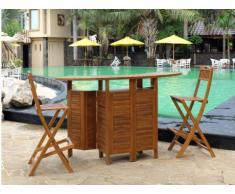 Bar de jardin et 2 chaises de bar AKUDA - Teck