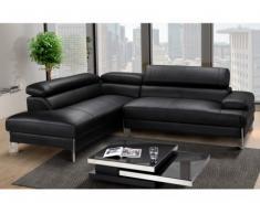 Canapé d'angle en cuir LITTORAL - Noir- angle gauche
