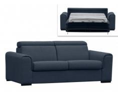 Canapé 3 places convertible express MARTEL en tissu - Bleu nuit