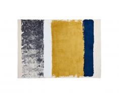 Tapis CAMDEN - Polyester - 120 x 170 cm - moutarde, bleu marine, gris