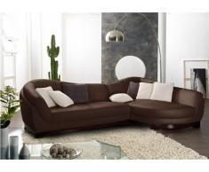 Canapé d'angle cuir de buffle 5 places CAPRI II - Chocolat - Angle droit