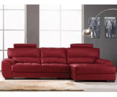 Canapé d'angle en cuir METROPOLITAN II - Rouge - Angle droit
