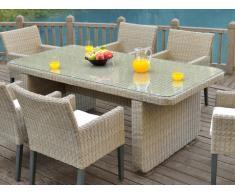 Table à manger de jardin KUOPIO en résine tressée beige