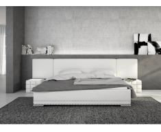 Lit LORIK - 180x200 cm - Simili blanc